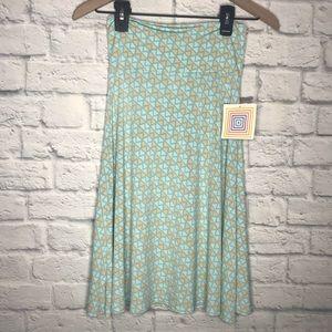 LuLaRoe NWT Azure Aqua Abstract Skirt Size XS